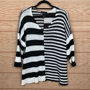 LANE BRYANT Stripe V Neck Sweater